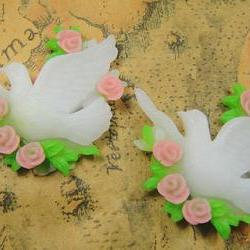 2pcs White Flatback Resin bird Cameo 35mm BW-SZ-205